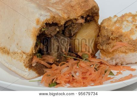 Studio Shot Close Up Of Traditional Bunny Chow