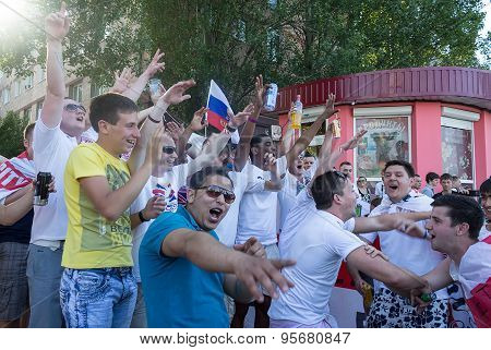 Donetsk, Ukraine - June 11, 2012: Soccer Fans From Different Countries Singing Hymns Spportivnye Nea