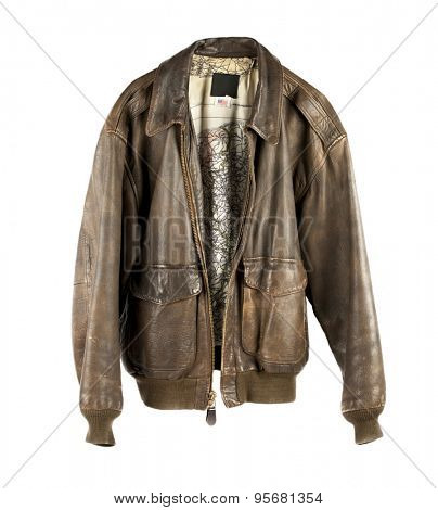 Leather Military flight Jacket open isolated on white poster