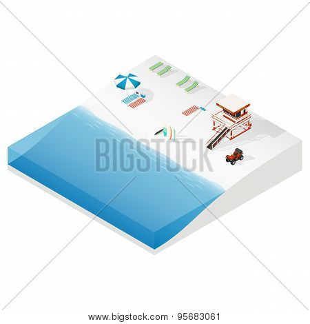 Beach Isometric Ison Set