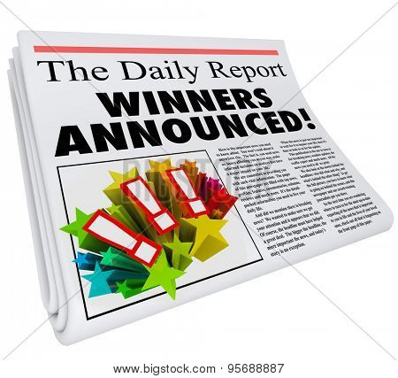 Winners Announced newspaper headline presenting announcement of contest prize or award chosen and reported