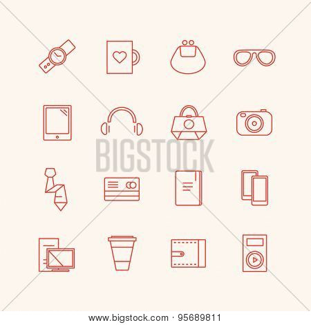 Paraphernalia vector icons set. Business, personal and technical symbols. Stocks design elements.