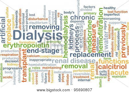 Background concept wordcloud illustration of dialysis