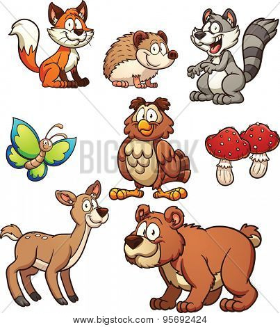 Cartoon forest animals. Vector clip art illustration with simple gradients. Each on a separate layer.