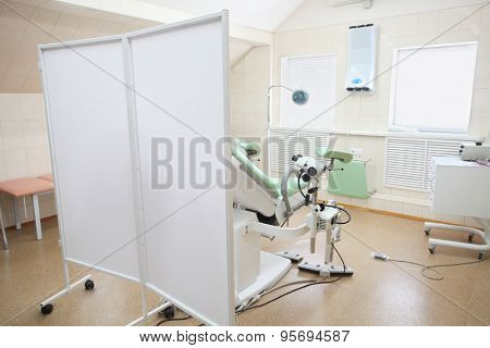 Interior of a gynaecologist consulting room poster
