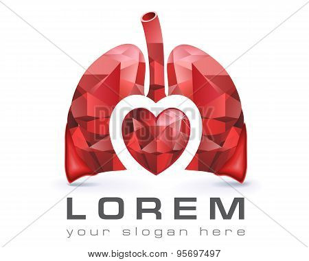 Logo template, vector, lungs and heart, health, medicine, hospital, surgery and medical business