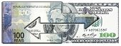 One Brazilian and one American bill connected by arrows symbolizing the interdependent economic relations. poster