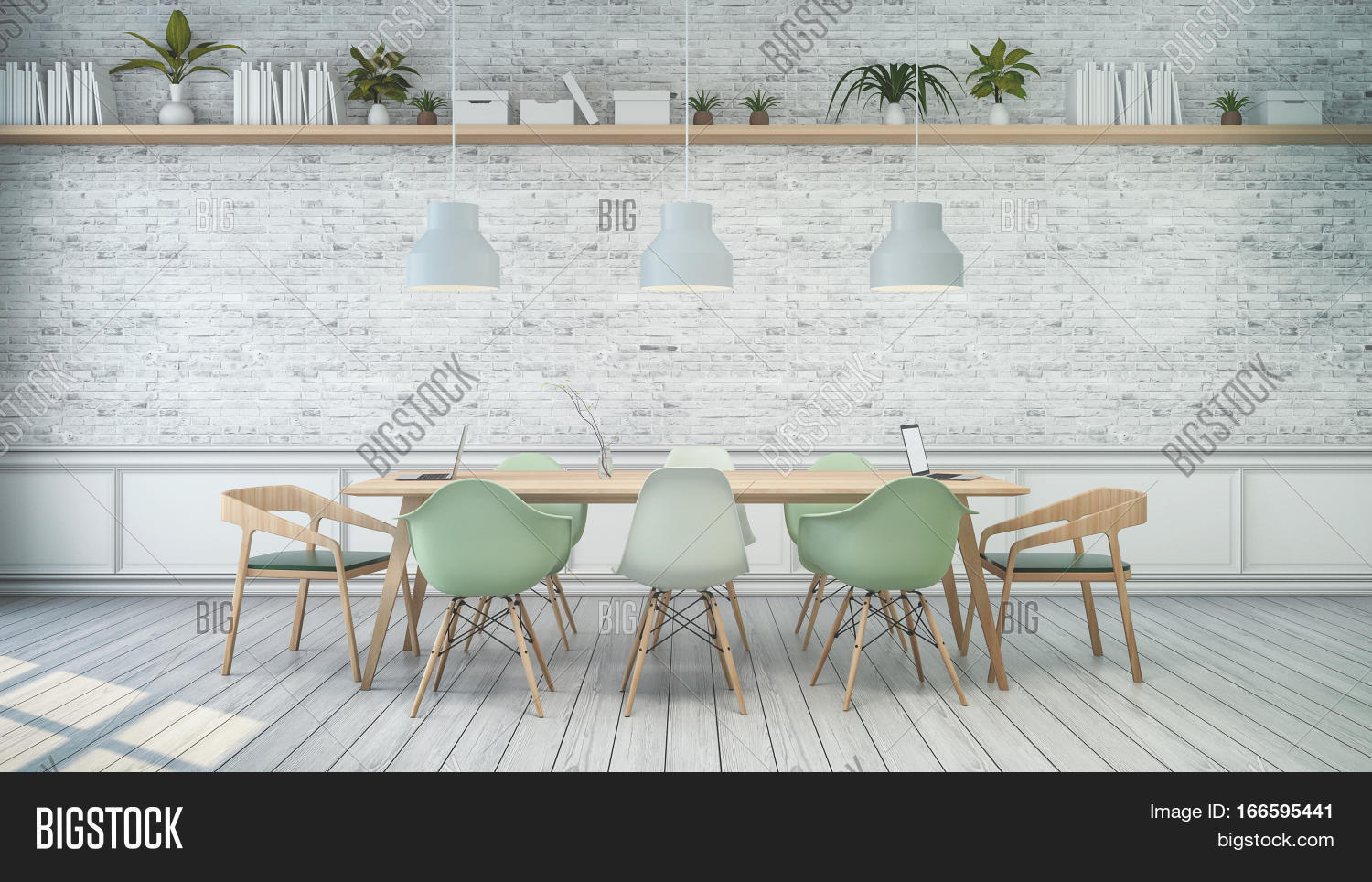 Minimalist Interior White Room With Green Chair And Wood Table White Brick  Wall . Scandinavian Style
