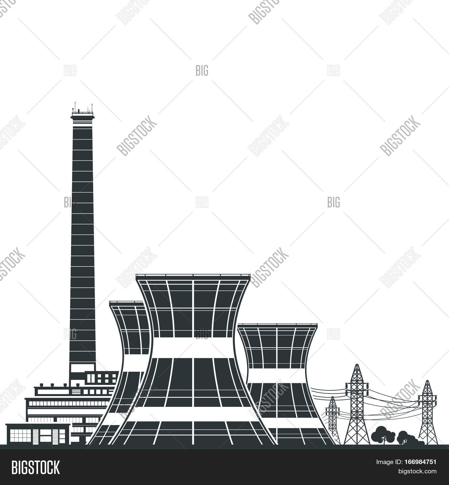66a6f185 Silhouette Nuclear Power Plant ,Thermal Power Station , Nuclear Reactor and  Power Lines,Black
