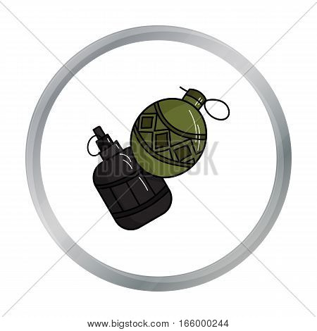 Paintball hand grenade icon in cartoon design isolated on white background. Paintball symbol stock vector illustration. - stock vector