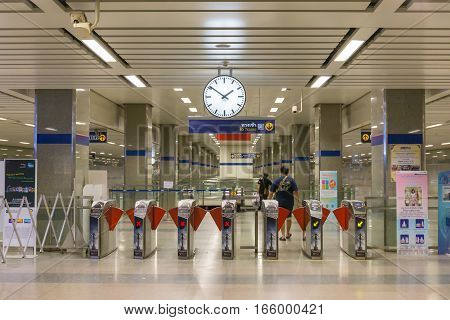 BANGKOK THAILAND - JANUARY 1 2017: MRT subway train station Ticket barriers at subway entrance in Bangkok Thailand
