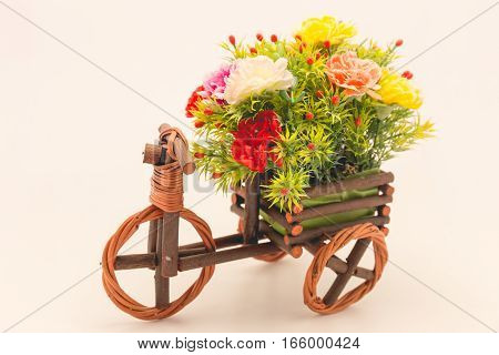 flower on wooden car decoration film style on white background