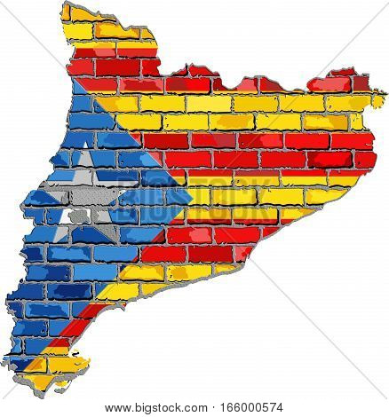 Catalan map on a brick wall - 3D Illustration,  Catalonia map and flag with a white star