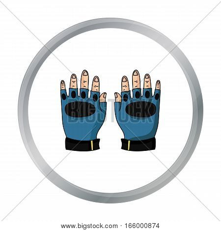 Fingerless gloves icon in cartoon design isolated on white background. Paintball symbol stock vector illustration. - stock vector