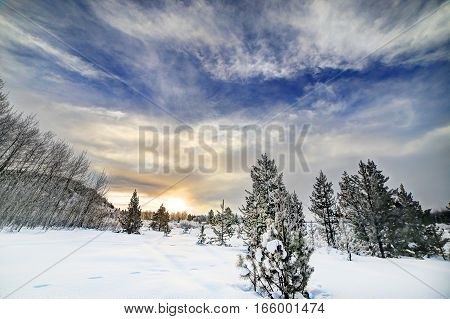 Winter wonderland scene in the snowy mountains