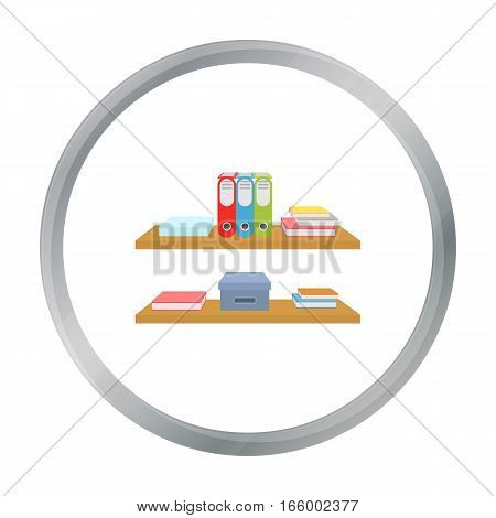 Office shelves with file folders icon in cartoon style isolated on white background. Office furniture and interior symbol vector illustration. - stock vector