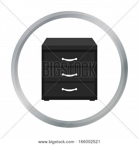 Office filing cabinet icon in cartoon style isolated on white background. Office furniture and interior symbol vector illustration. - stock vector