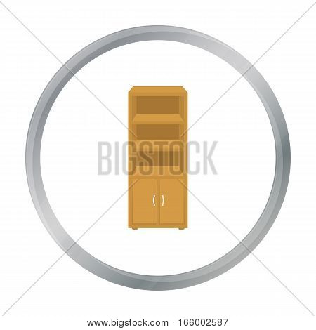Office bookcase icon in cartoon style isolated on white background. Office furniture and interior symbol vector illustration. - stock vector