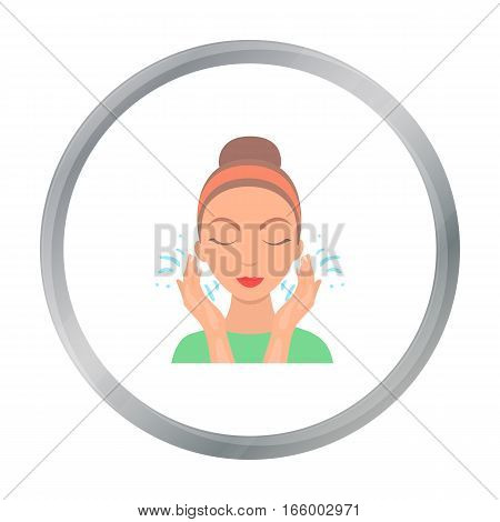 Face washing icon in cartoon style isolated on white background. Skin care symbol vector illustration