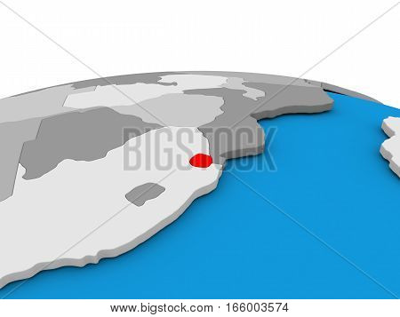 Swaziland On Globe In Red