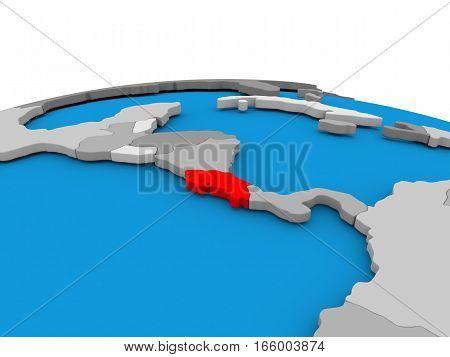 Costa Rica On Globe In Red
