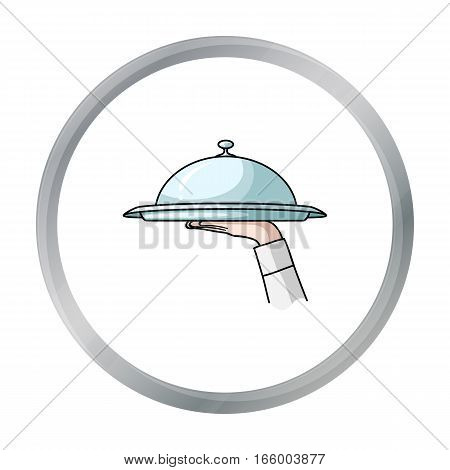 Waiter's hand holding a tray with cloche icon in cartoon style isolated on white background. Restaurant symbol vector illustration. - stock vector