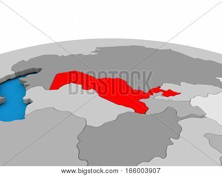 Uzbekistan On Globe In Red