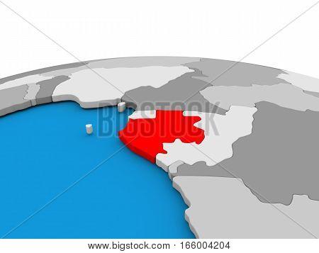 Gabon On Globe In Red