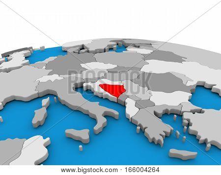 Bosnia On Globe In Red