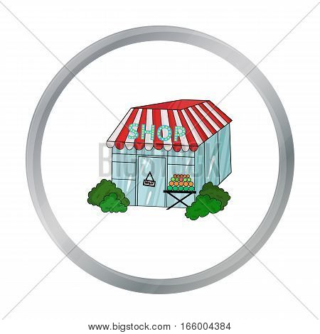 Supermarket icon in cartoon design isolated on white background. Supermarket symbol stock vector illustration.