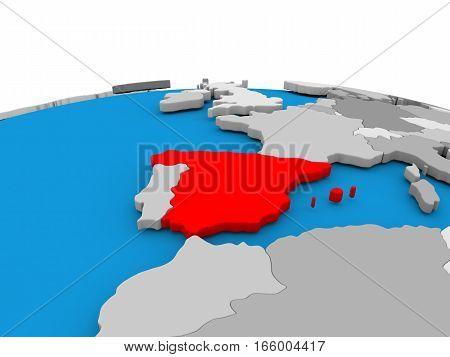 Spain On Globe In Red