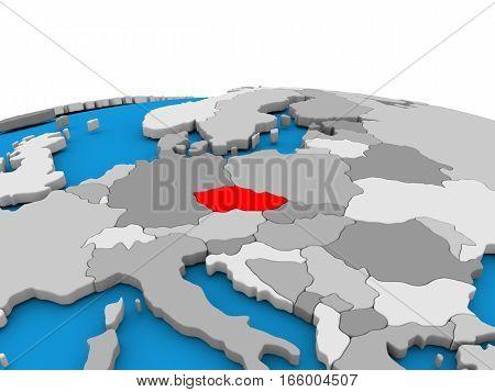 Czech Republic On Globe In Red