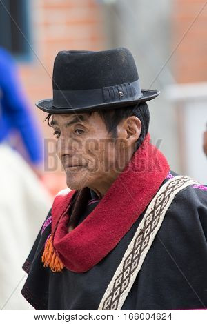 September 6, 2016 Silvia, Colombia: Guambiano men closeup portrait outdoors wearing traditional outfit