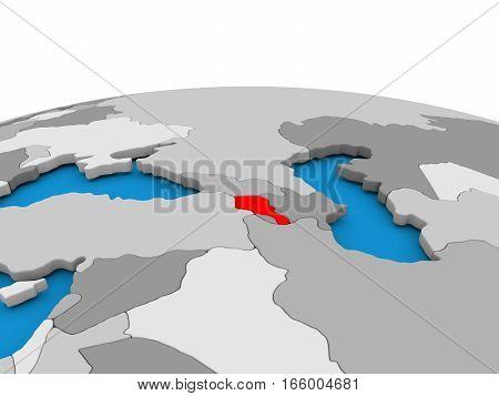Armenia On Globe In Red