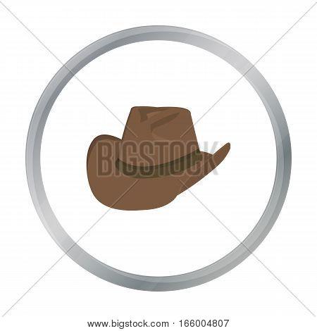 Cowboy hat icon cartoon. Singe western icon from the wild west cartoon