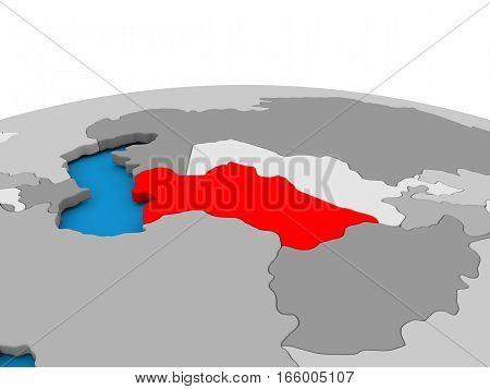 Turkmenistan On Globe In Red