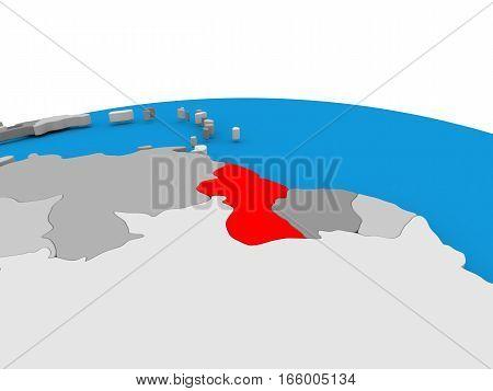 Guyana On Globe In Red
