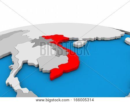 Vietnam On Globe In Red
