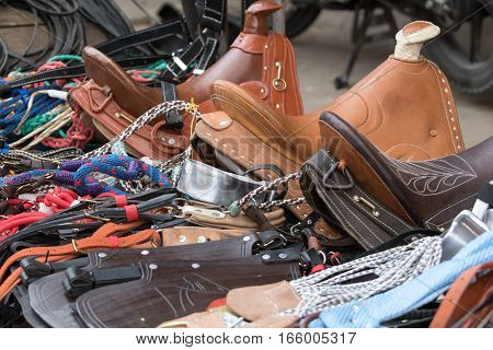 September 6, 2016 Silvia, Colombia: vendor stand in the local market offering saddlery products