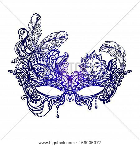 Hand drawn face masks in the style of Boho Chic. Festival Mardi Gras masquerade.
