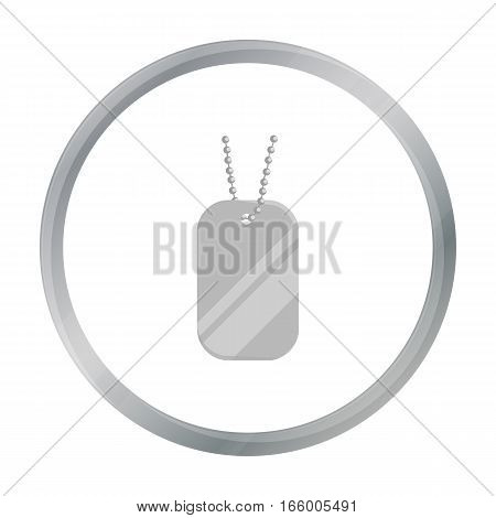 Metal tags hanging on a chain icon cartoon.