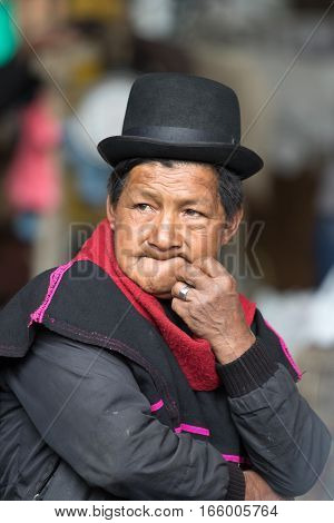 September 6 2016 Silvia Colombia: an indigenous Guambiano man outdoors on market day