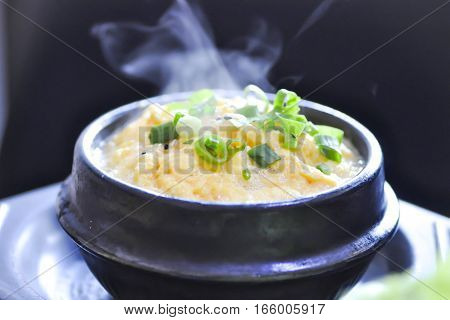steamed egg with green onion and sesame