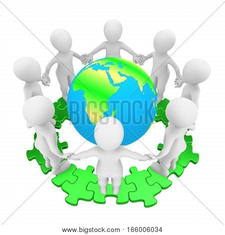 People on green puzzle and Earth. 3d rendered illustration.