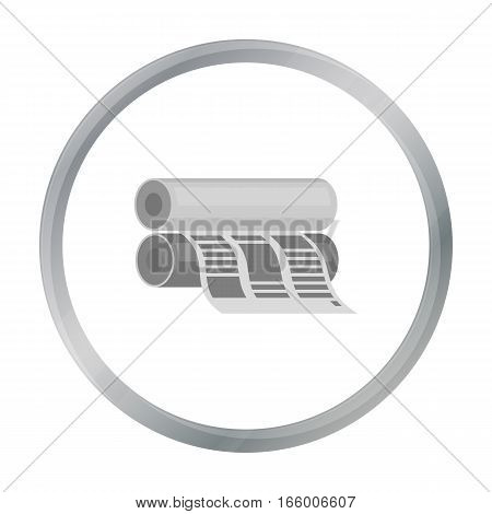 Newspaper printing machine in cartoon style isolated on white background. Typography symbol vector illustration.