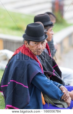 September 6 2016 Silvia Colombia: Guambianpo indigenous man in traditional wear in the centre of the small mountain town