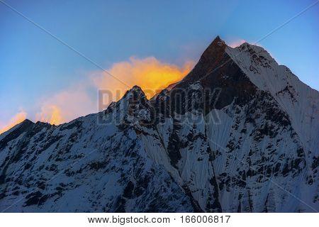 Machapuchare peak at sunrise from Annapurna Base Camp ,Nepal.