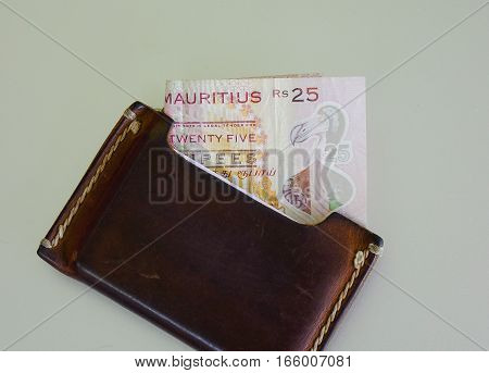 Mauritian Banknote With Brown Wallet