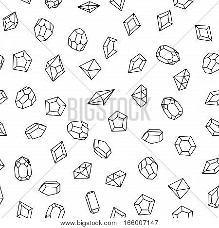 Seamless pattern with white gems. Hand drawn crystals