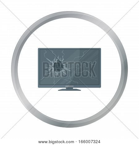 Broken television icon in cartoon style isolated on white background. Trash and garbage symbol vector illustration.